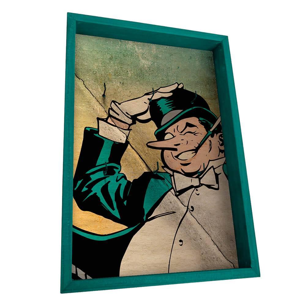 Porta-Chaves 6 Ganchos DC Comics Penguim Azul em Madeira - Urban - 31x21 cm