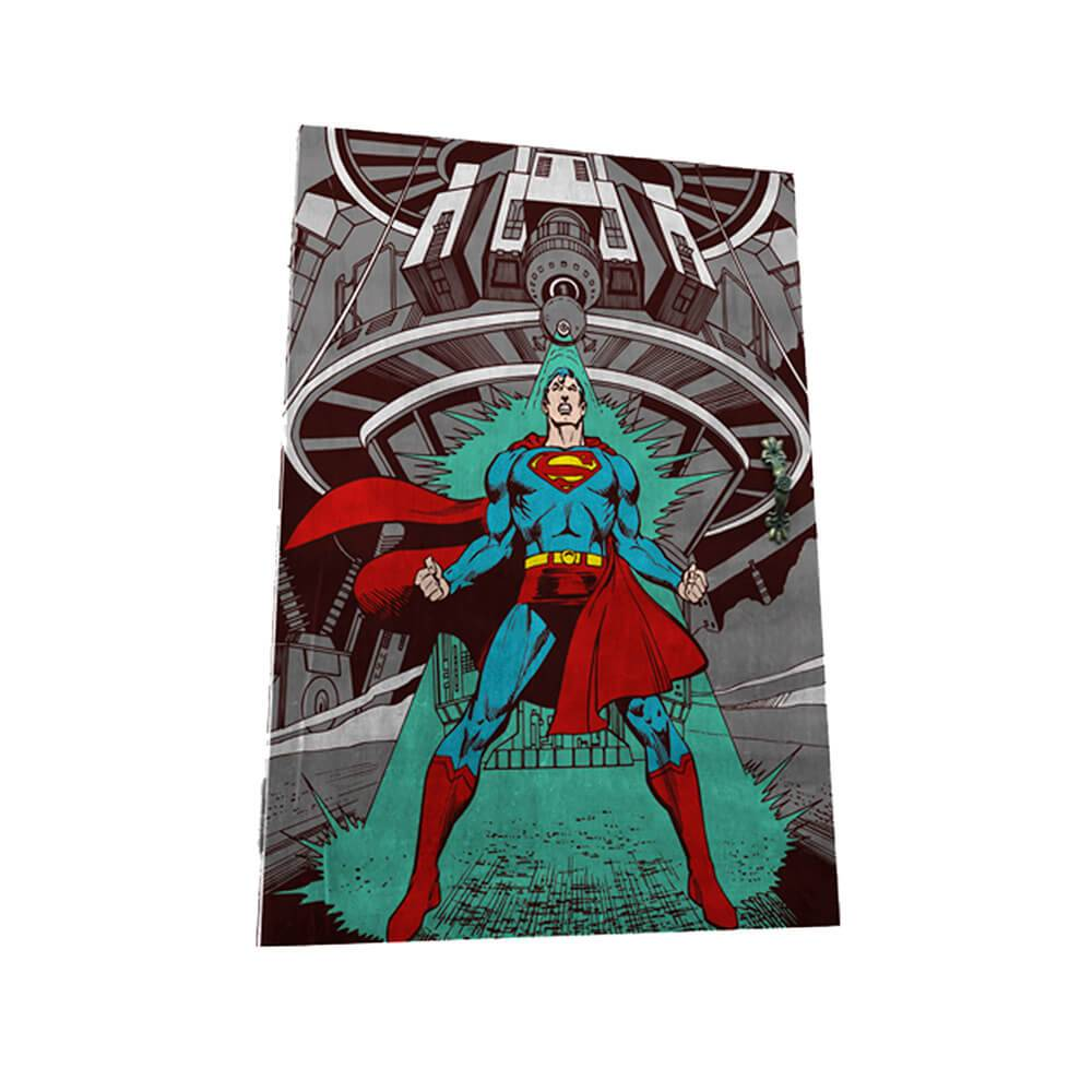 Porta-Chaves 6 Ganchos DC Comics Superman Being Attacked em Madeira - Urban - 31x21 cm