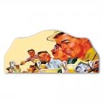 Porta-Chaves Amigos de Bar Tomando Cerveja - 4 Ganchos - em MDF - 29x21 cm