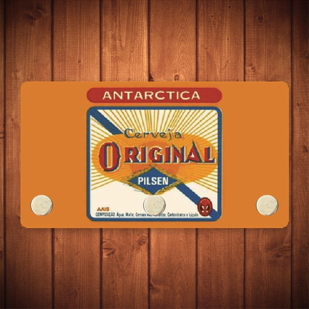 Porta-Chaves Antarctica Original Amarelo - 3 Ganchos - em Metal - 14,5x8 cm