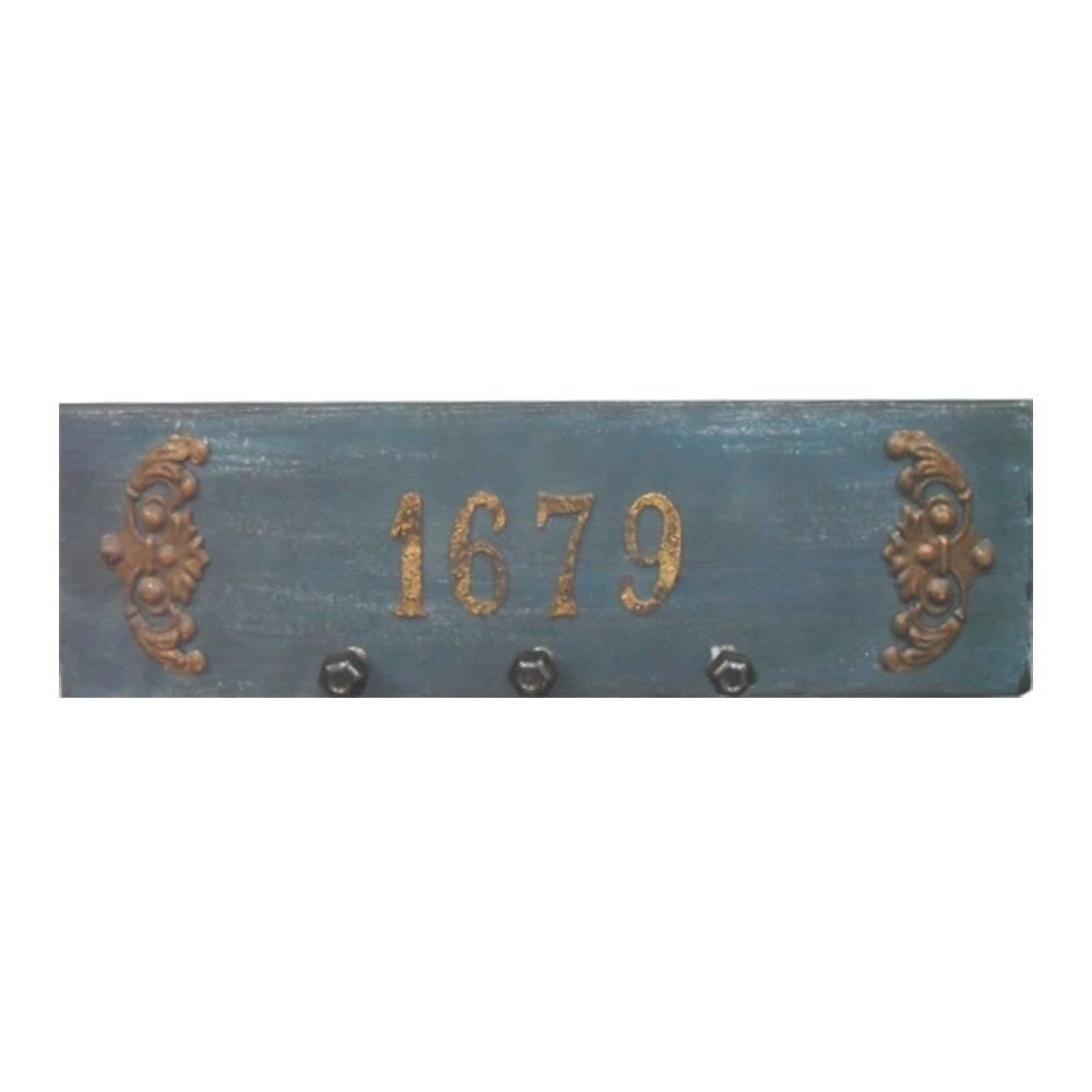 Porta-Chaves Antique 1679 Cinza Pátina em Madeira - 60x50 cm