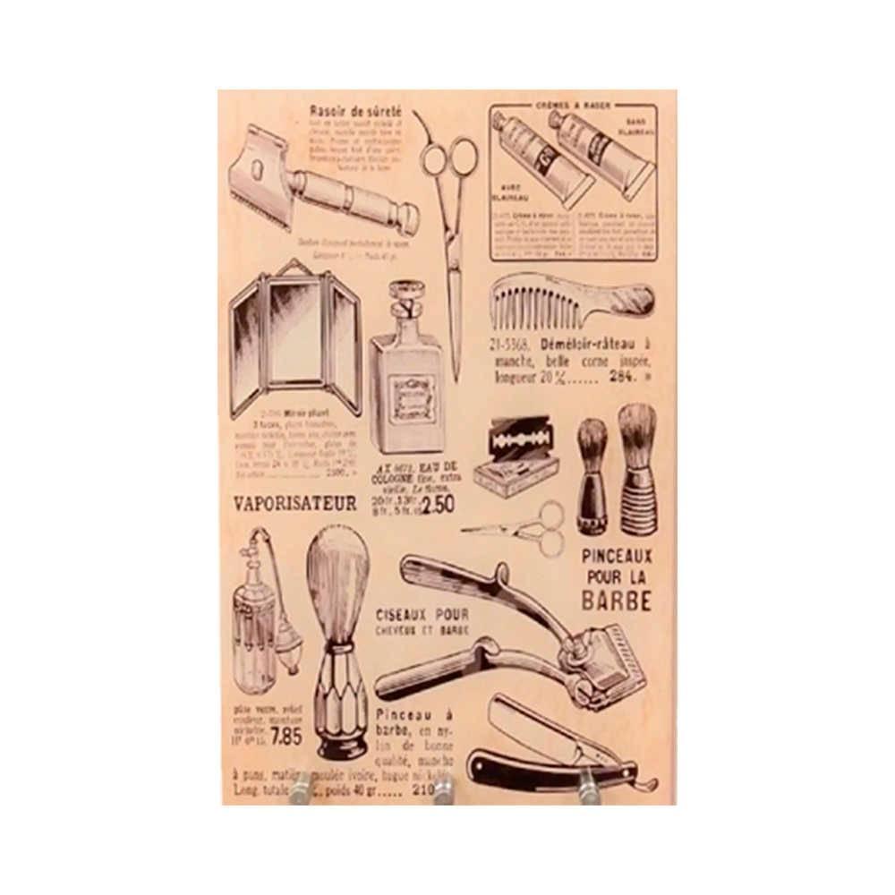 Porta-Chaves Barber Masculino com 3 Ganchos Bege em Vidro - 30x20 cm