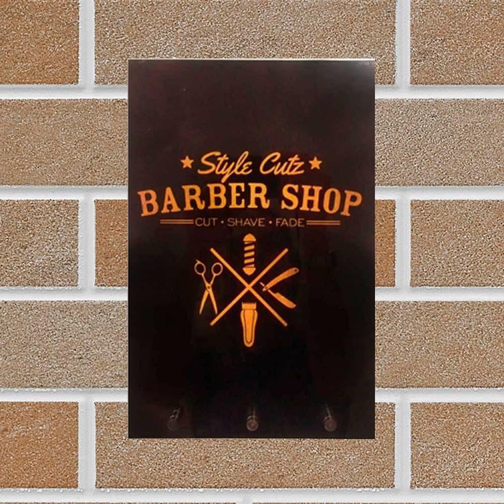 Porta-Chaves Barber Shop Preto e Dourado em Vidro - 30x20 cm