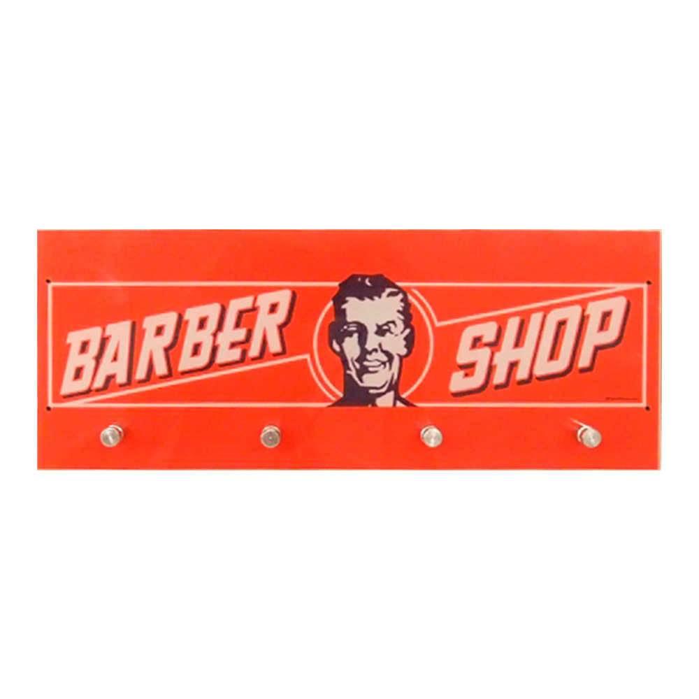 Porta-Chaves Barber Shop Vermelho com 4 Ganchos em Vidro - 30x12 cm