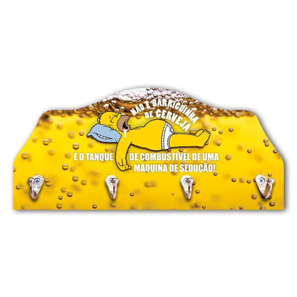 Porta-Chaves Barriguinha de Cerveja Homer Amarelo - 4 Ganchos - em MDF - 29x21 cm