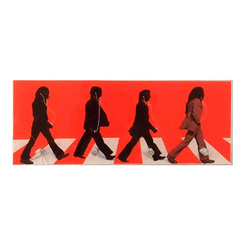Porta-Chaves Beatles Abbey Road Vermelho com 4 Ganchos em Vidro - 30x12 cm