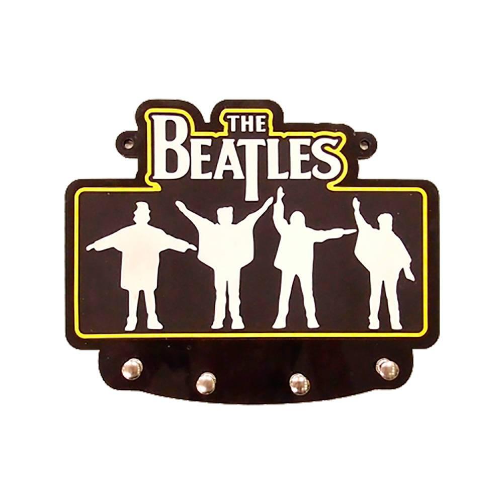 Porta-Chaves Beatles Fundo Preto com 4 Ganchos em MDF - 22x20 cm