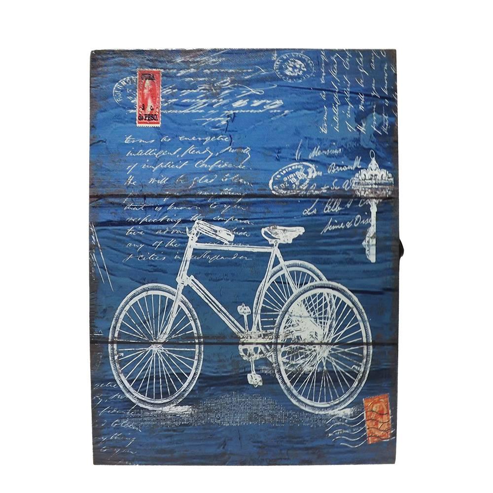 Porta-Chaves Bicicleta Fundo Azul em MDF - 32x22 cm