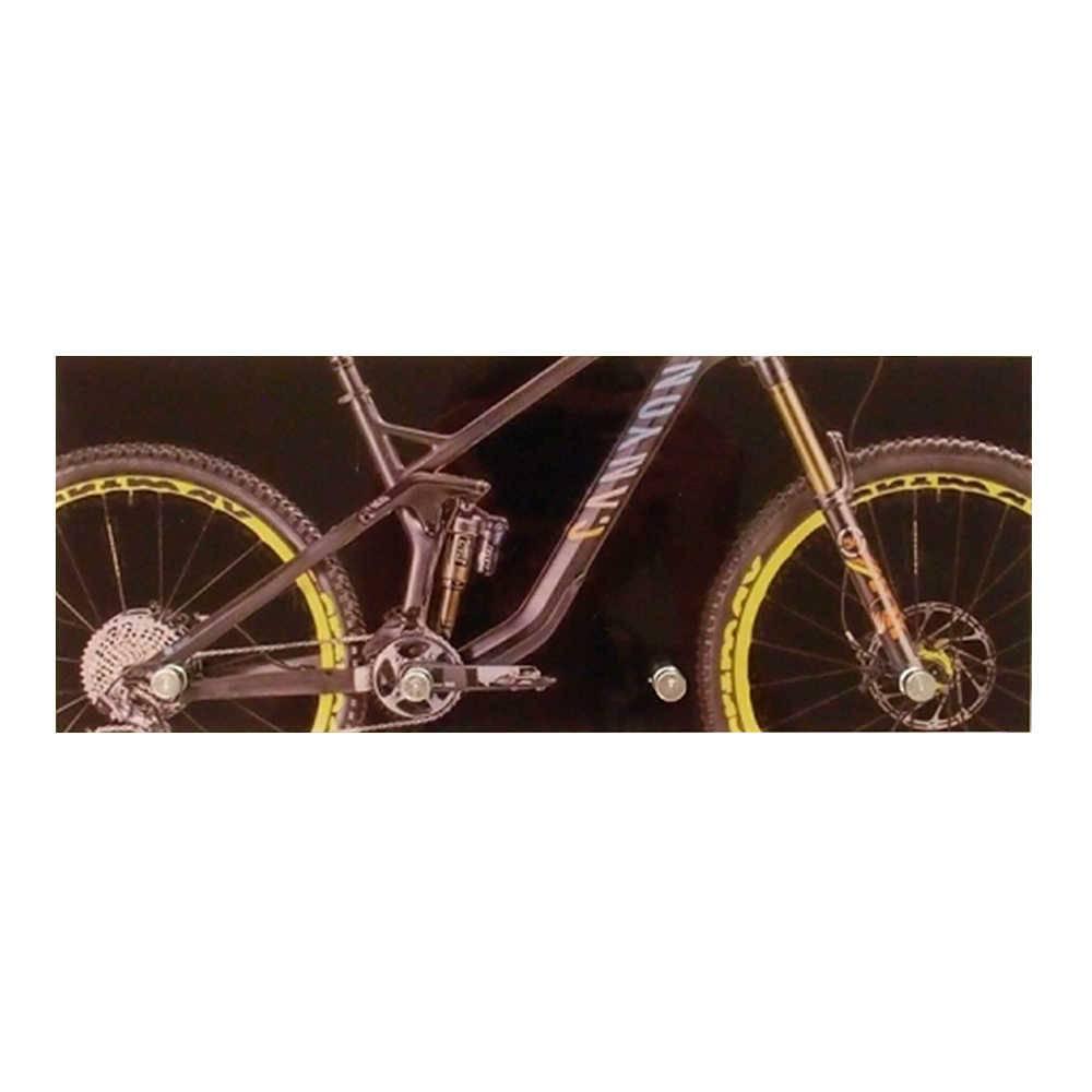 Porta-Chaves Bicicleta Preta com 4 Ganchos em Vidro - 30x12 cm