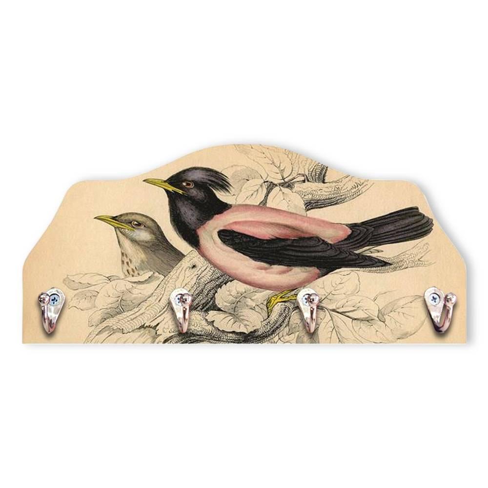 Porta-Chaves Black Bird - 4 Pinos - em MDF - 29x13 cm