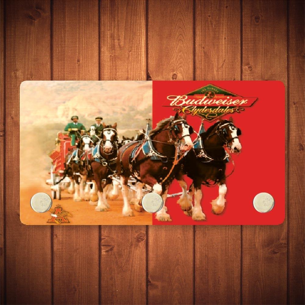 Porta-Chaves Budweiser Cavalos - 3 Ganchos - em Metal - 14,5x8 cm