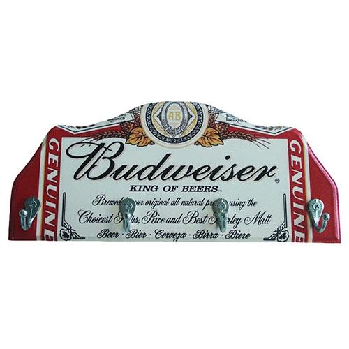 Porta-Chaves Budweiser King Of Beers em Madeira - 4 Ganchos - 29x12 cm