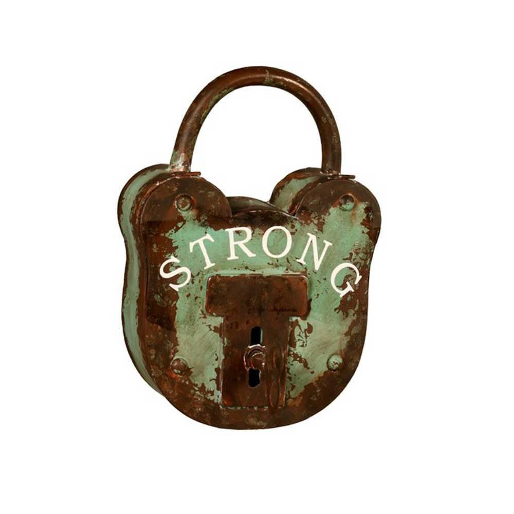 Porta-Chaves Cadeado Strong Verde e Marrom em Metal - 48x38 cm