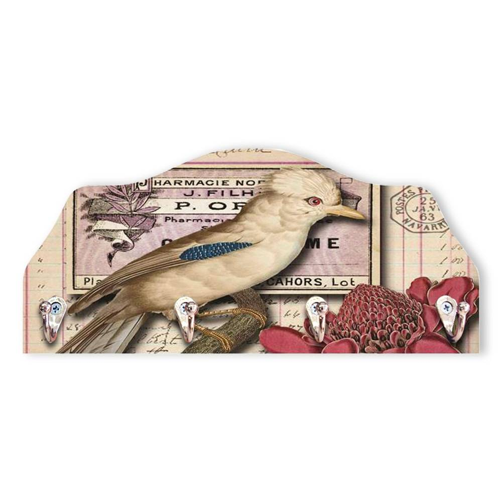 Porta-Chaves Cartão Postal Pássaro Vintage - 4 Pinos - em MDF - 29x13 cm