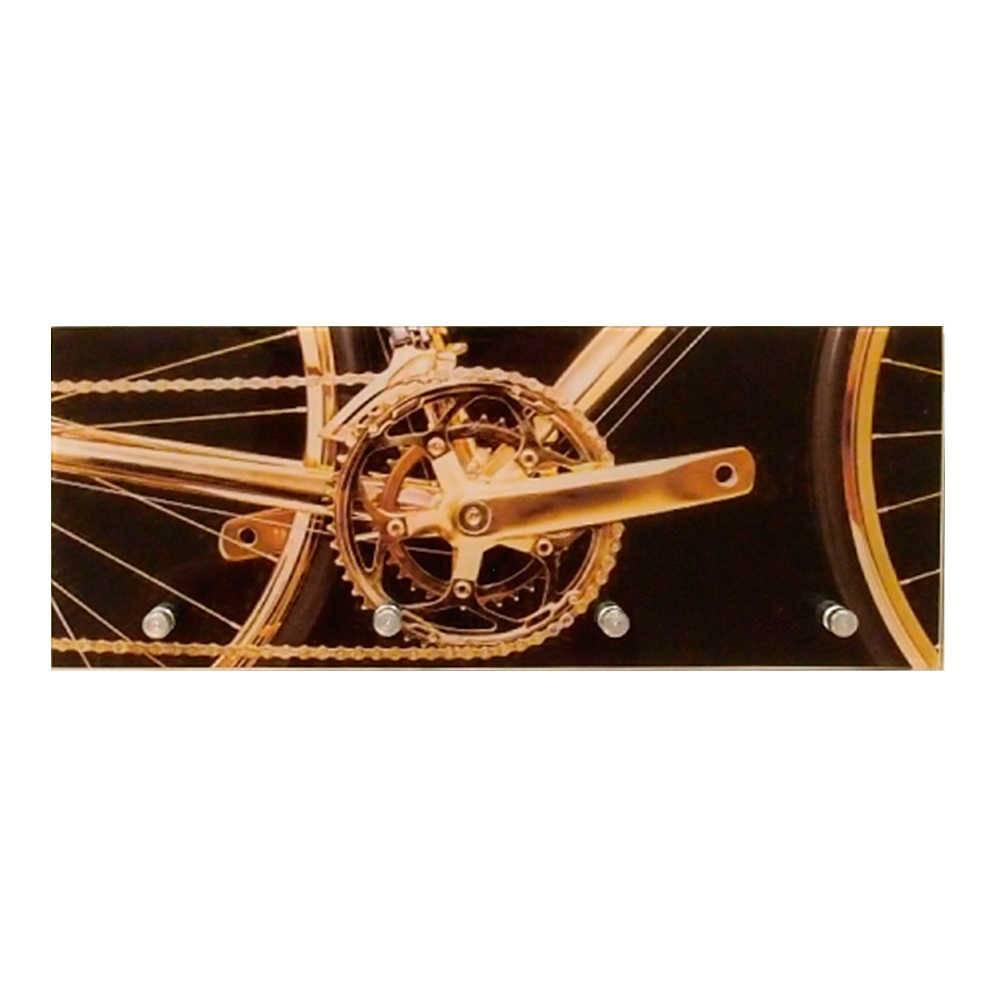 Porta-Chaves Catraca de Bicicleta Dourada 4 Ganchos em Vidro - 30x12 cm