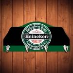 Porta-Chaves Cerveja Heineken Verde e Preto - 4 Ganchos - em Madeira - 29x12 cm