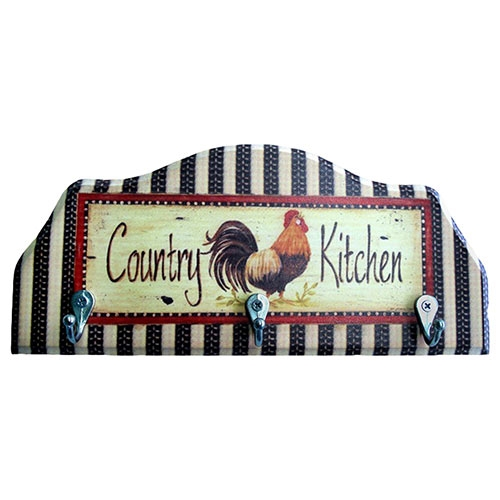 Porta-Chaves Country Kitchen em Madeira - 3 Ganchos - 29x12 cm