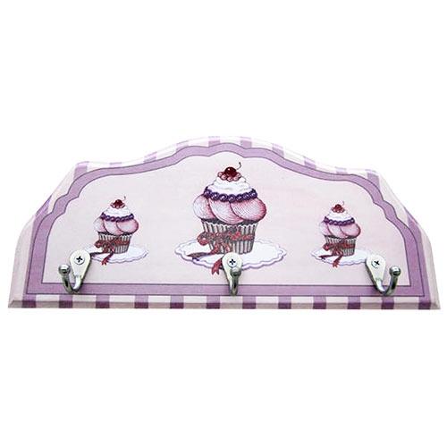 Porta-Chaves Cupcakes e Cerejas em Madeira - 3 Ganchos - 29x12 cm