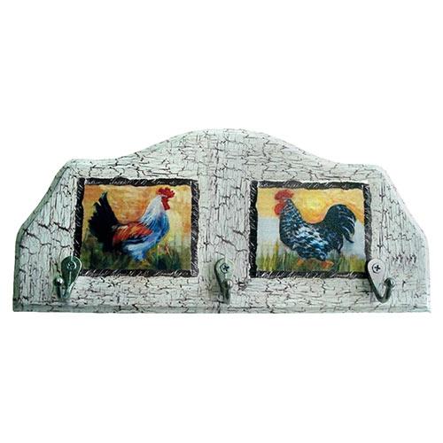Porta-Chaves Dois Galos em Madeira - 3 Ganchos - 29x12 cm