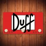 Porta-Chaves Duff Beer Fundo Vermelho - 3 Ganchos - em Metal - 14,5x8 cm
