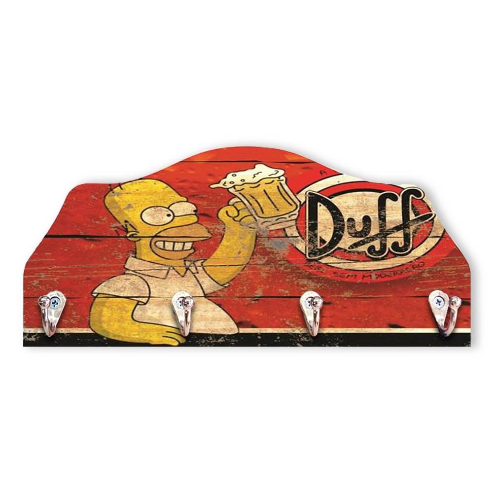 Porta-Chaves Duff Homer Simpson- 4 Pinos - em MDF - 29x13 cm