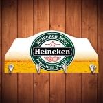 Porta-Chaves Espuma Branca da Cerveja Heineken - 4 Ganchos - em Madeira - 29x12 cm