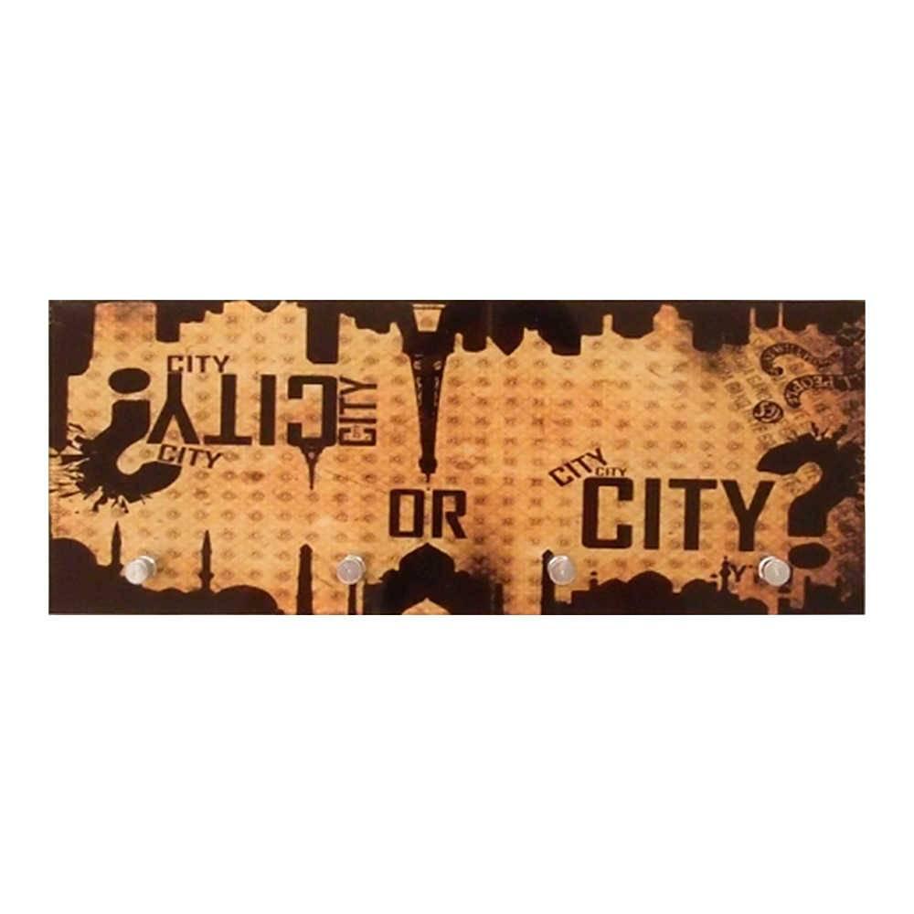 Porta-Chaves Estampa Monumentos Cidades Famosas Bege e Preto com 4 Ganchos em Vidro - 30x12 cm