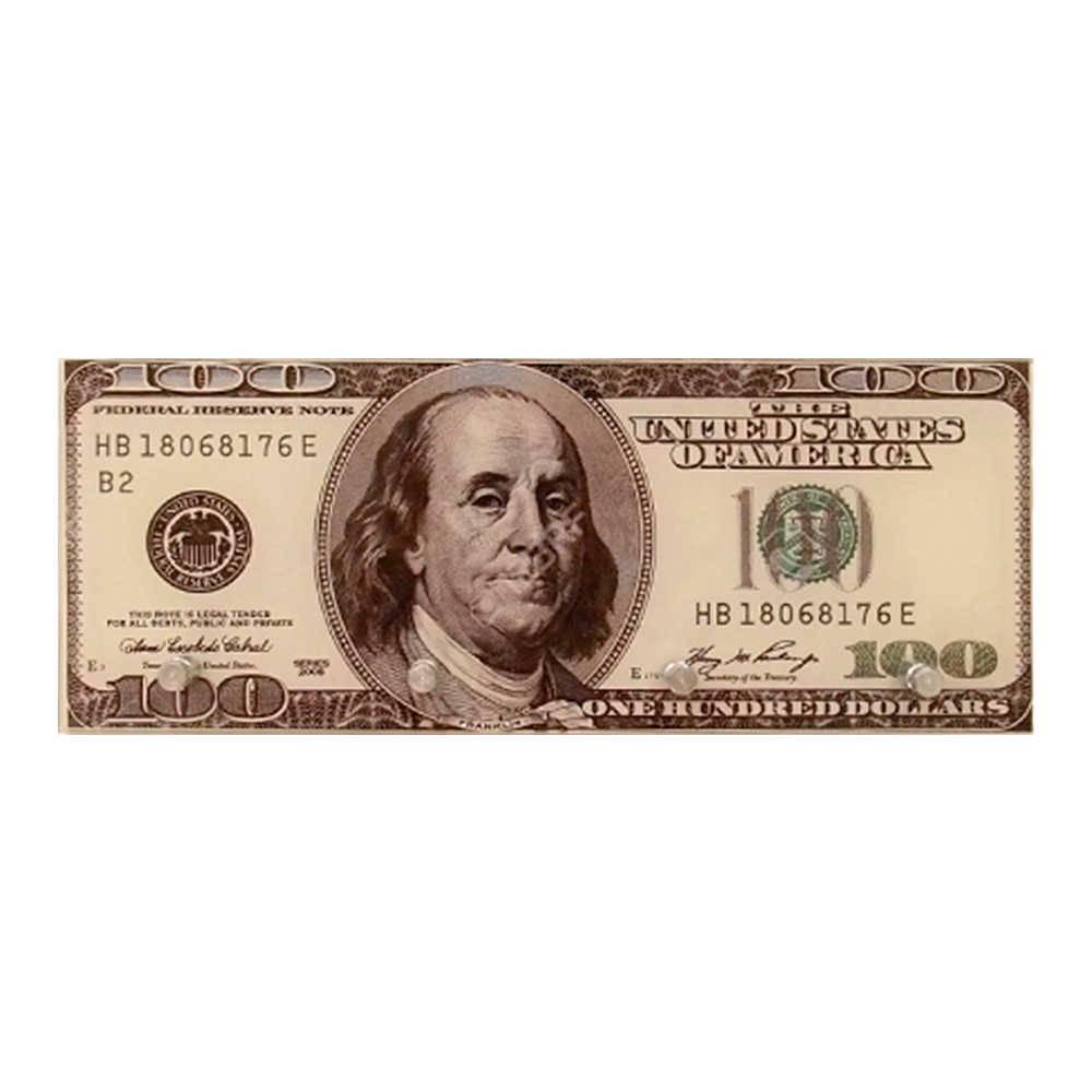 Porta-Chaves Estampa Nota de 100 Dólares com 4 Ganchos em Vidro - 30x12 cm