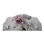 Porta-Chaves Flor Hortência Rosa em Madeira - 3 Ganchos - 29x12 cm