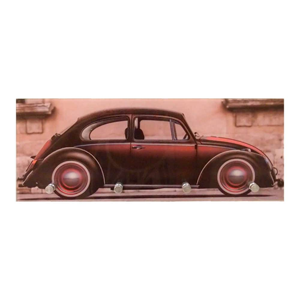 Porta-Chaves Fusca Vintage Marrom com 4 Ganchos em Vidro - 30x12 cm