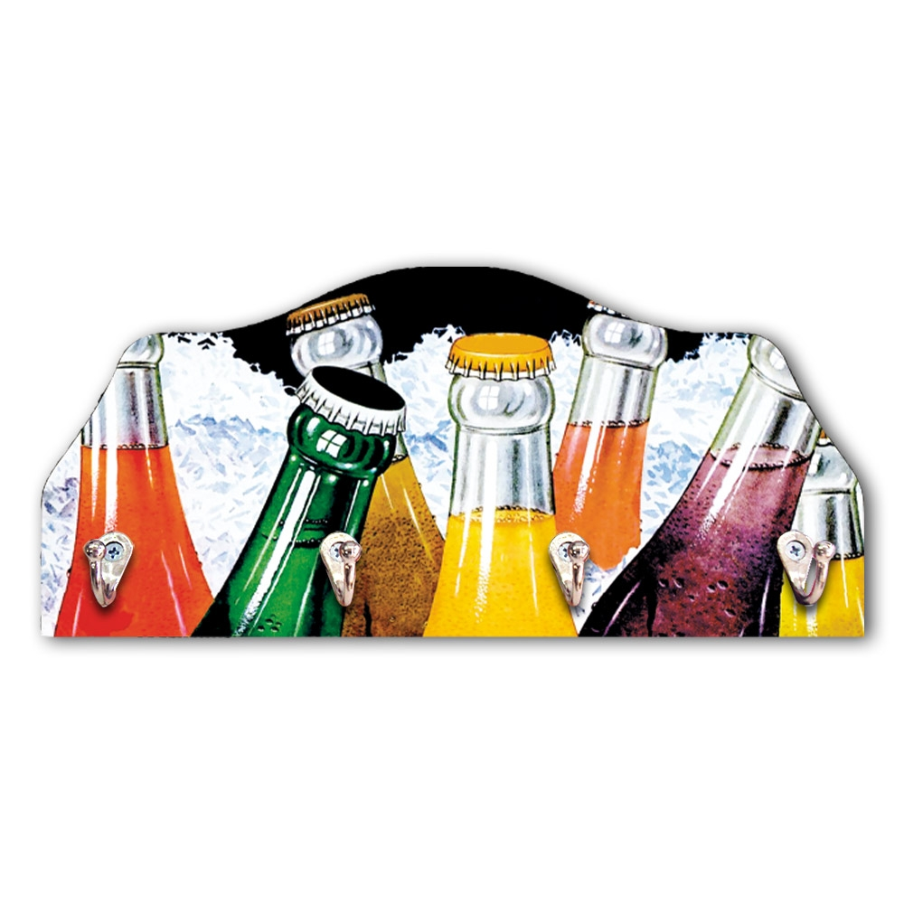 Porta-Chaves Garrafas Coloridas - 4 Ganchos - em MDF - 29x21 cm