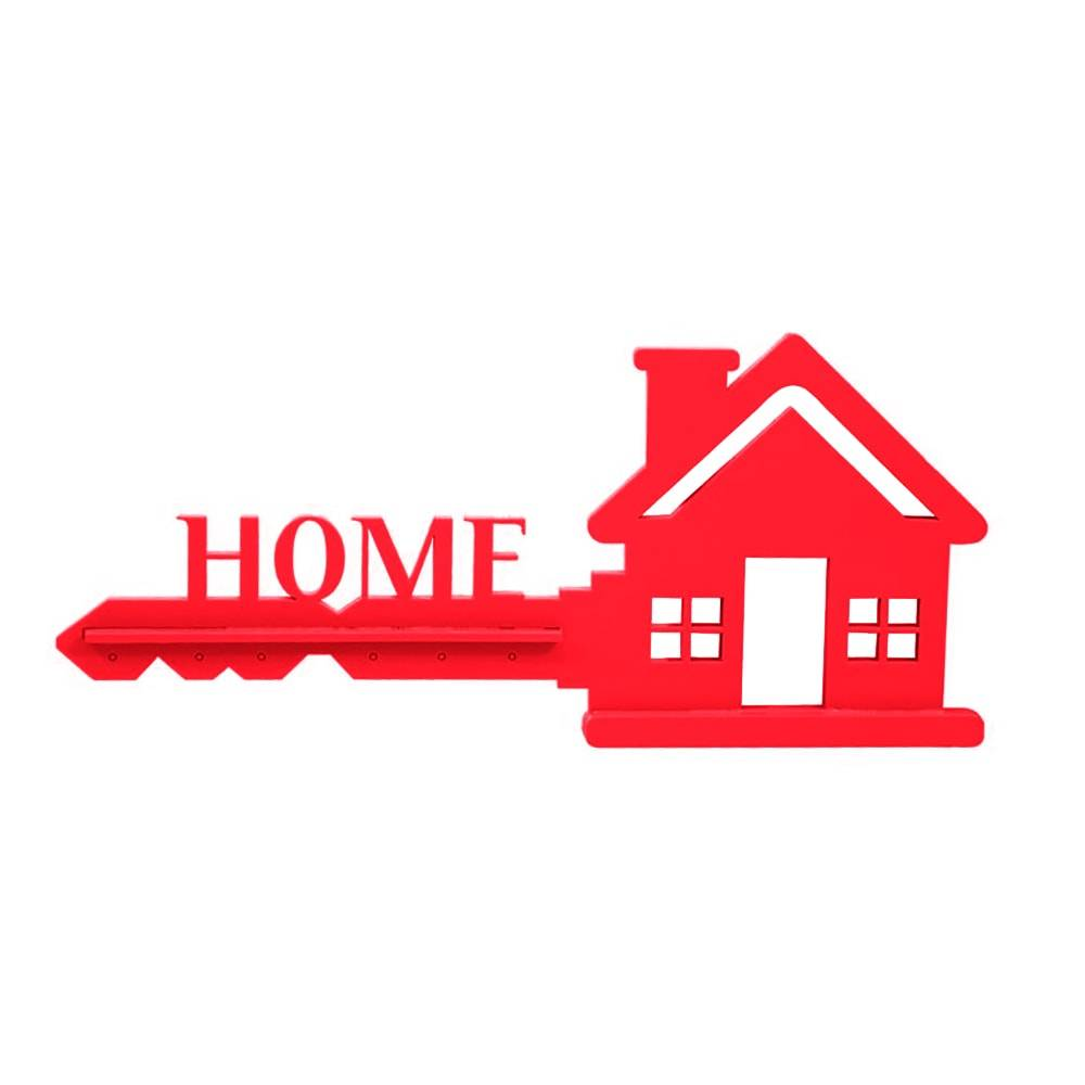 Porta-Chaves Home em MDF Laqueado Vermelho - 35x15,8 cm