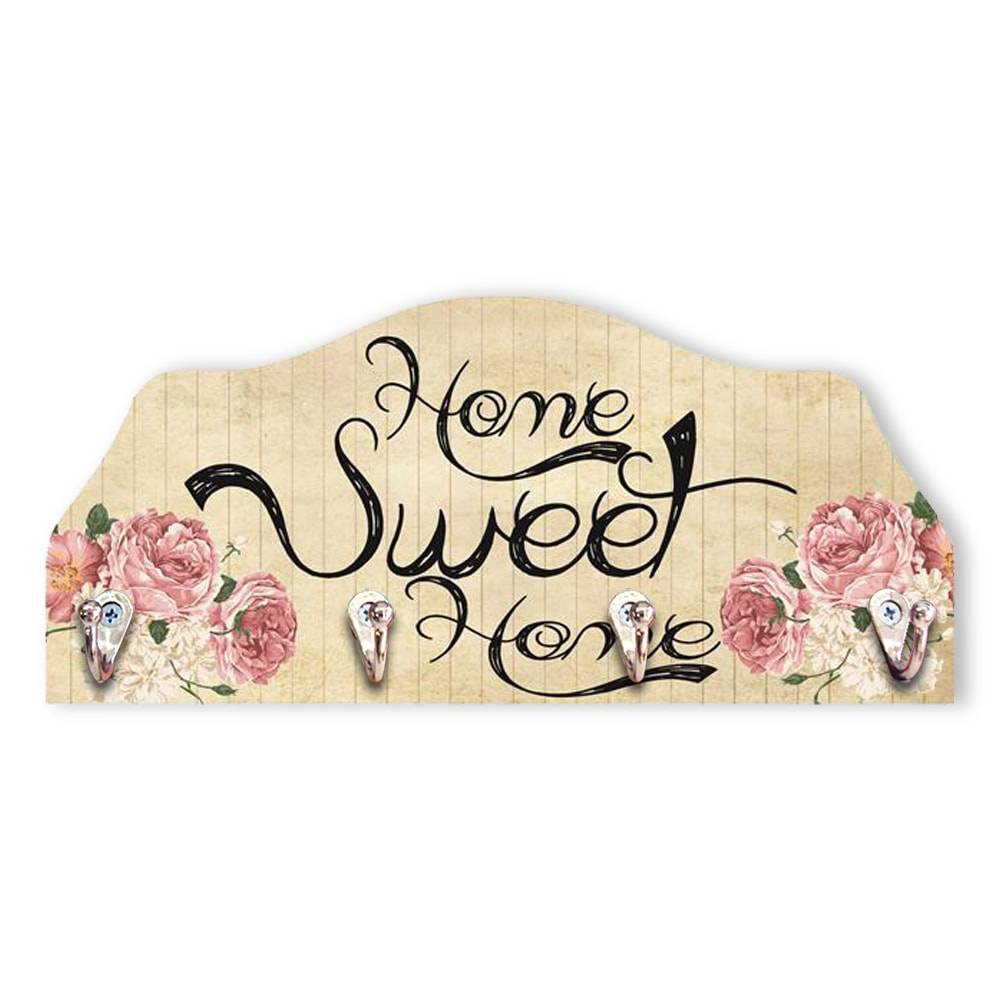 Porta-Chaves Home Sweet Home - 4 Pinos - em MDF - 29x13 cm