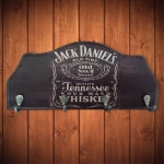 Porta-Chaves Jack Daniels Fundo Preto Envelhecido - 4 Ganchos - em MDF - 29x12 cm