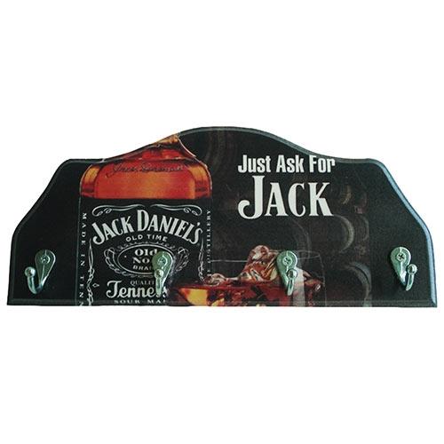Porta-Chaves Jack Daniels em Madeira - 4 Ganchos - 29x12 cm