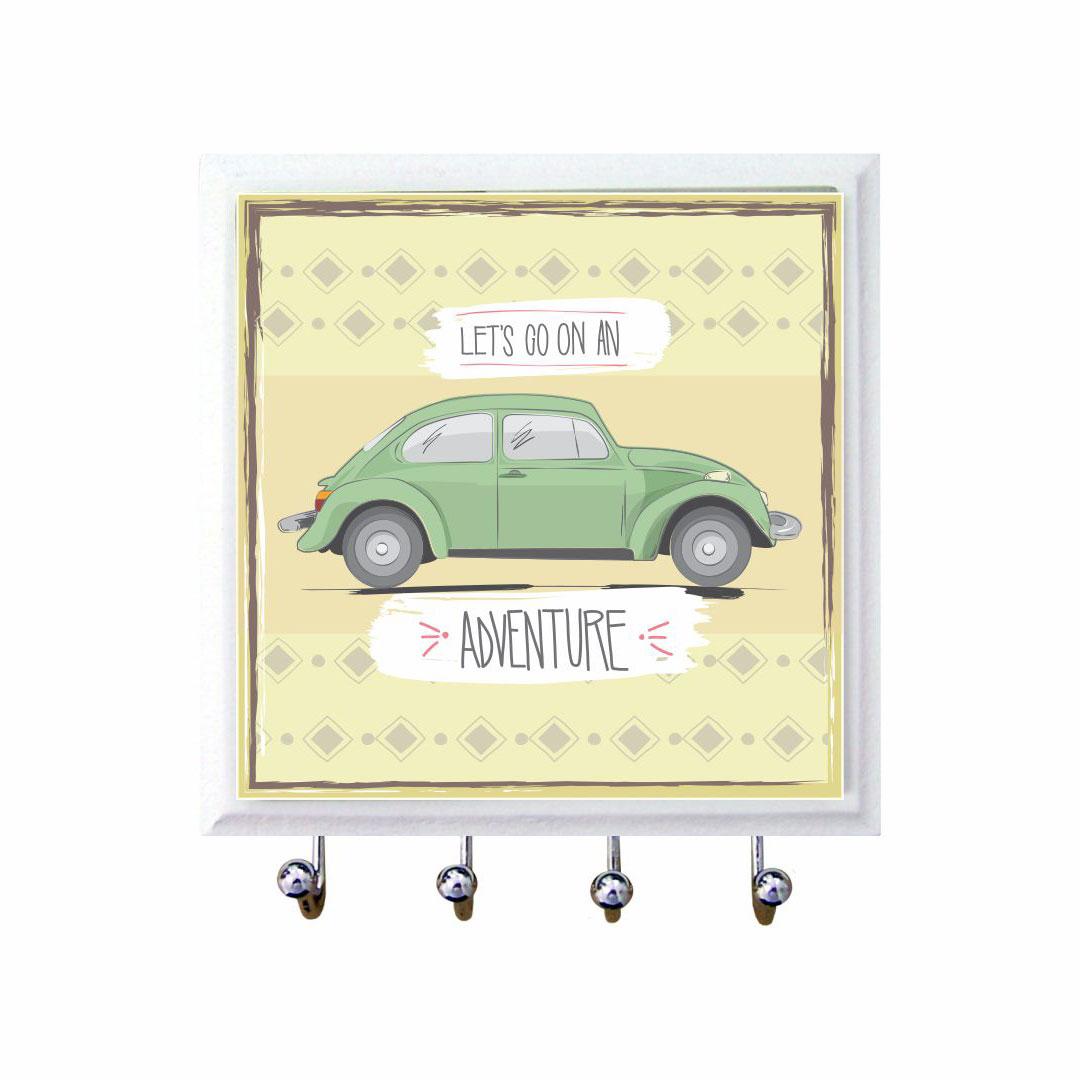 Porta-Chaves Lets Go On An Adventure em Azulejo 11x11 cm