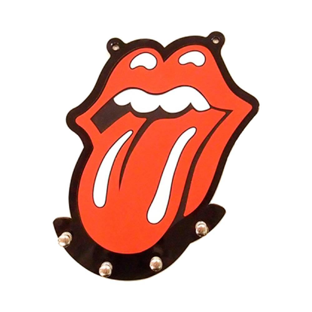 Porta-Chaves Logo Rolling Stones Vermelho em MDF - 22x20 cm