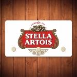 Porta-Chaves Logo Stella Artois Fundo Branco - 3 Ganchos - em Metal - 14,5x8 cm