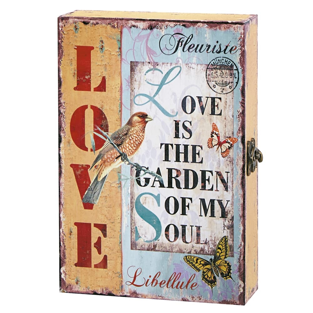 Porta-Chaves Love is The Garden Multicolorido em MDF - 32x22 cm