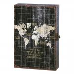 Porta-Chaves Mapa do Mundo Preto e Branco em MDF - 32x22 cm