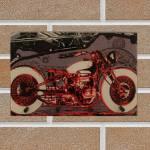 Porta-Chaves Moto Vermelha em Vidro - 30x20 cm