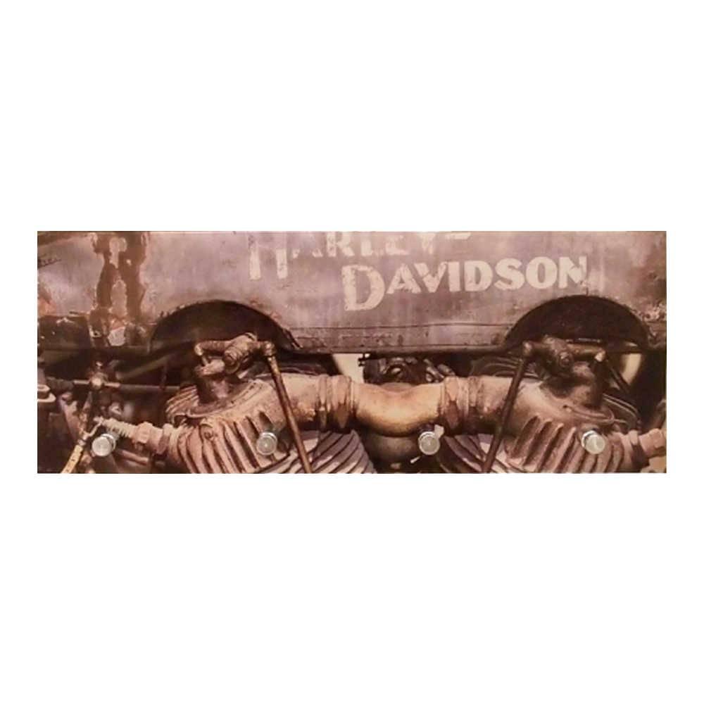 Porta-Chaves Motor Harley Davidson com 4 Ganchos em Vidro - 30x12 cm