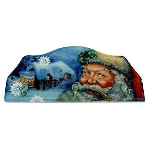 Porta-Chaves Papai Noel em Madeira - 3 Ganchos - 29x12 cm