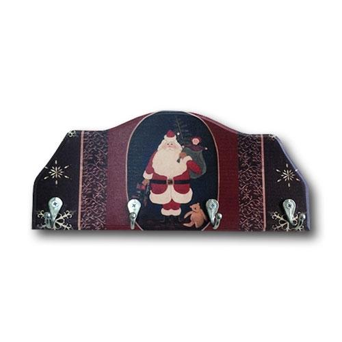 Porta-Chaves Papai Noel e Presentes em Madeira - 4 Ganchos - 29x12 cm