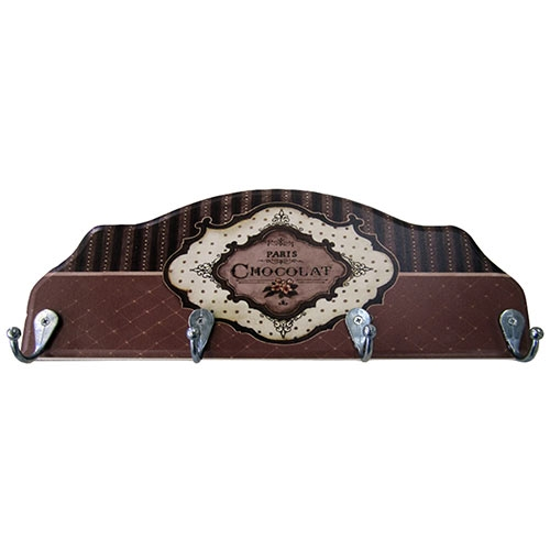 Porta-Chaves Paris Chocolat em Madeira - 4 Ganchos - 29x12 cm