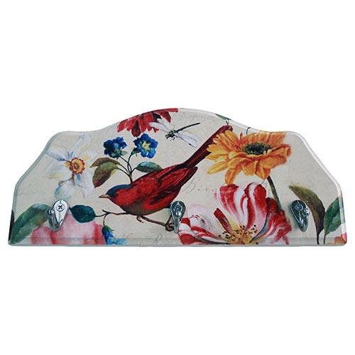 Porta-Chaves Pássaro e Flores Coloridas em Madeira - 3 Ganchos - 29x12 cm