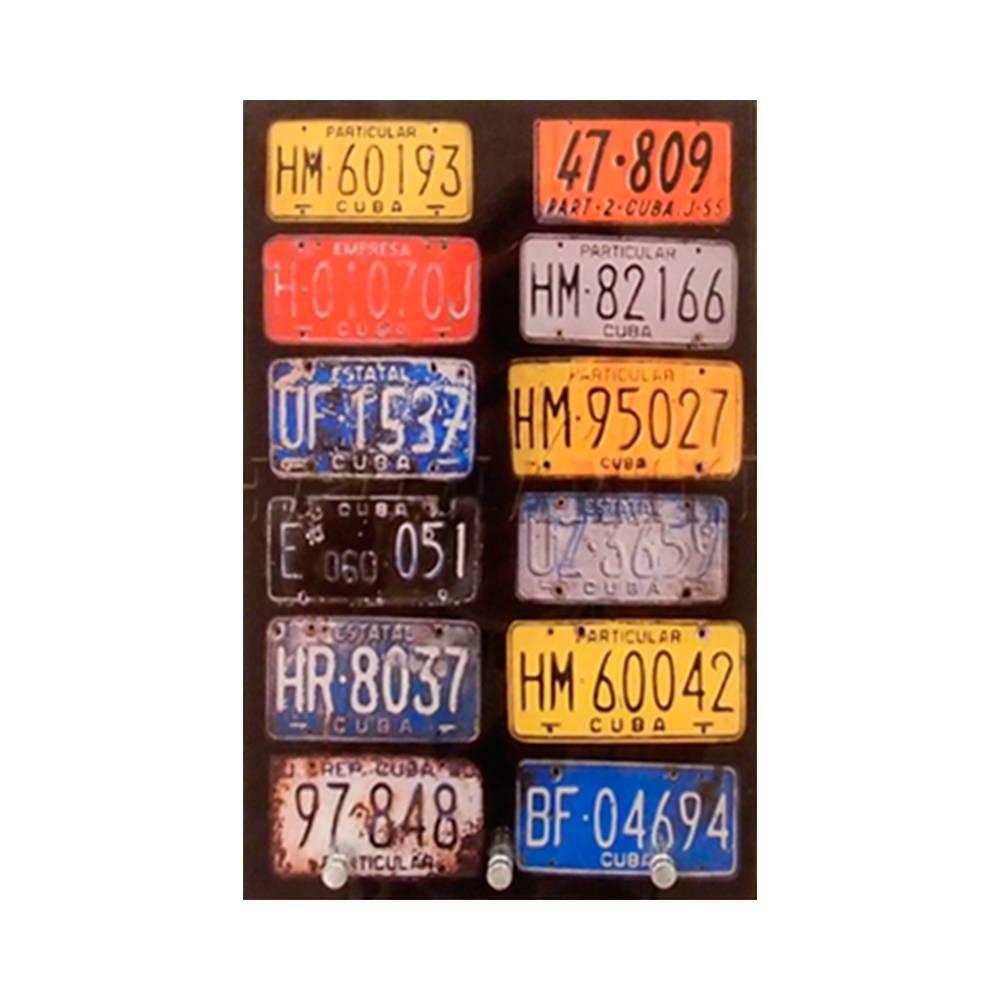 Porta-Chaves Placas de Carros de Cuba Multicolorido com 3 Ganchos em Vidro - 30x12 cm
