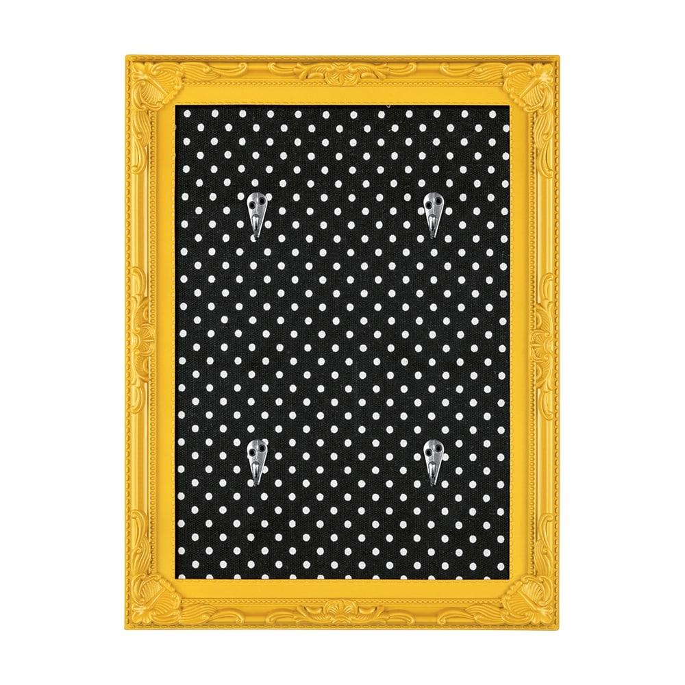 Porta-Chaves Poás - com 4 Ganchos - Amarelo e Preto - 30x21 cm