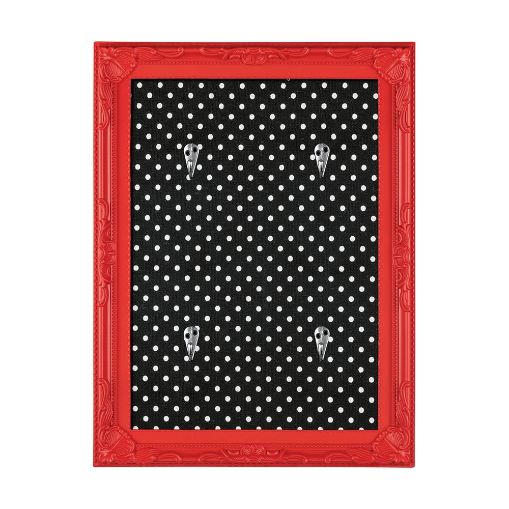 Porta-Chaves Poás - com 4 Ganchos - Vermelho e Preto - 36x24 cm