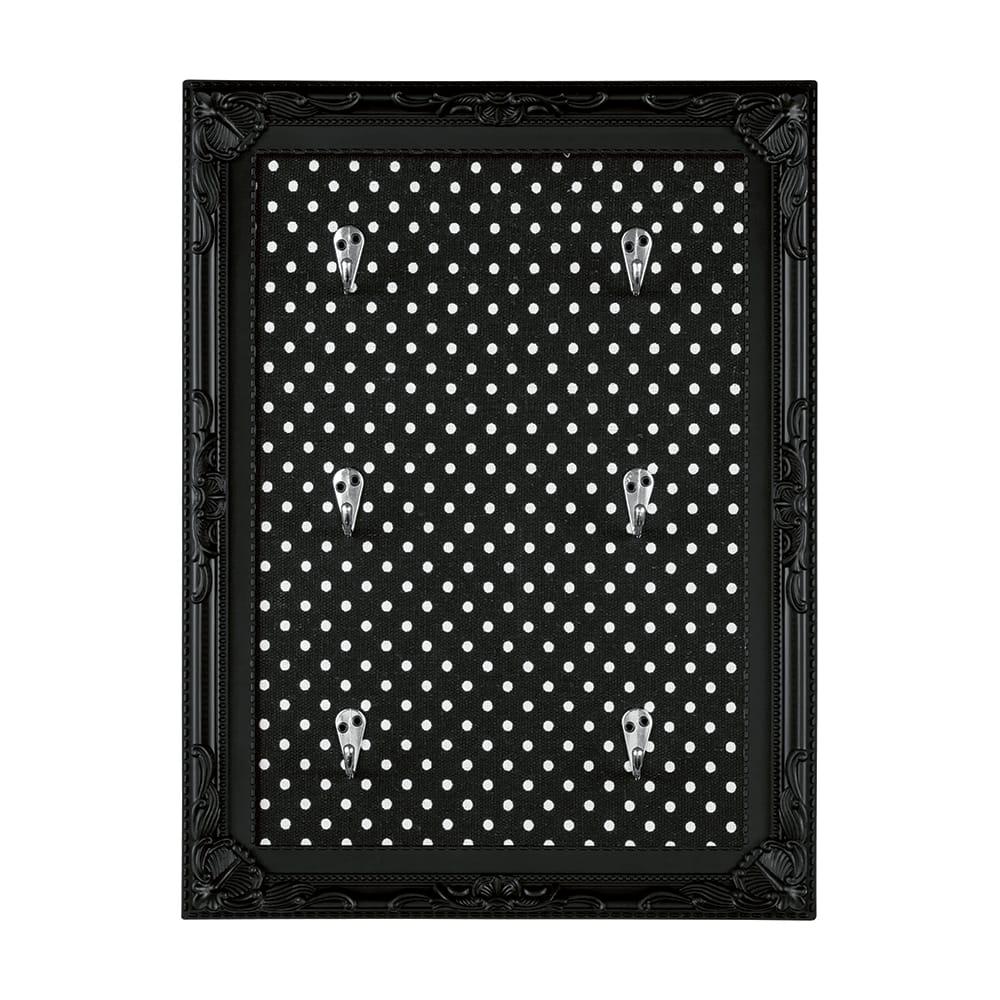 Porta-Chaves Poás - com 6 Ganchos - Preto - 40x30 cm